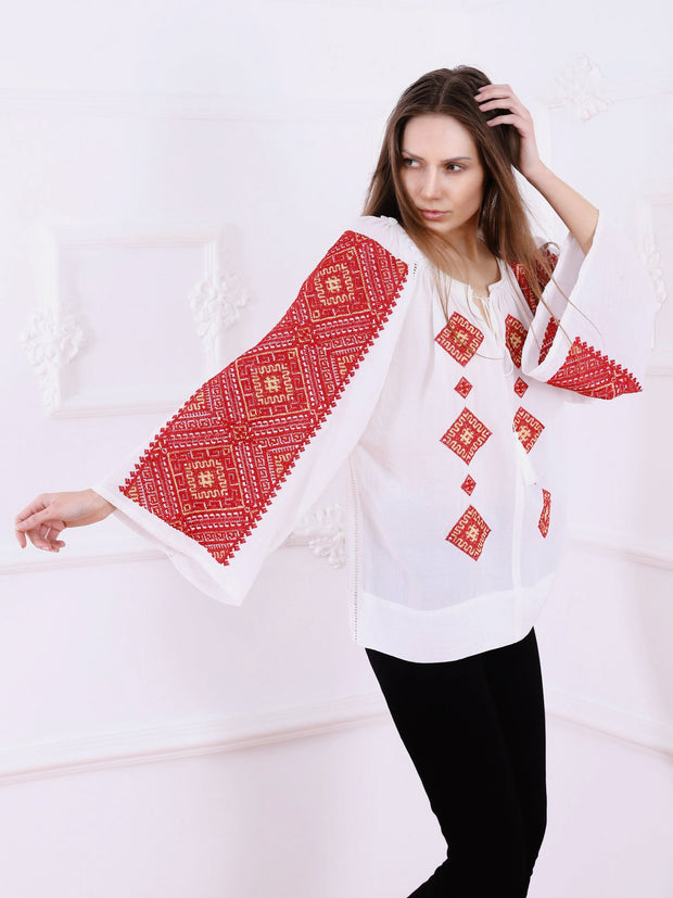 Banat Blouse - White-Colored Fabric-FLORII-
