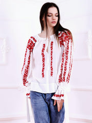 Roses Blouse - White-Colored Fabric-FLORII-