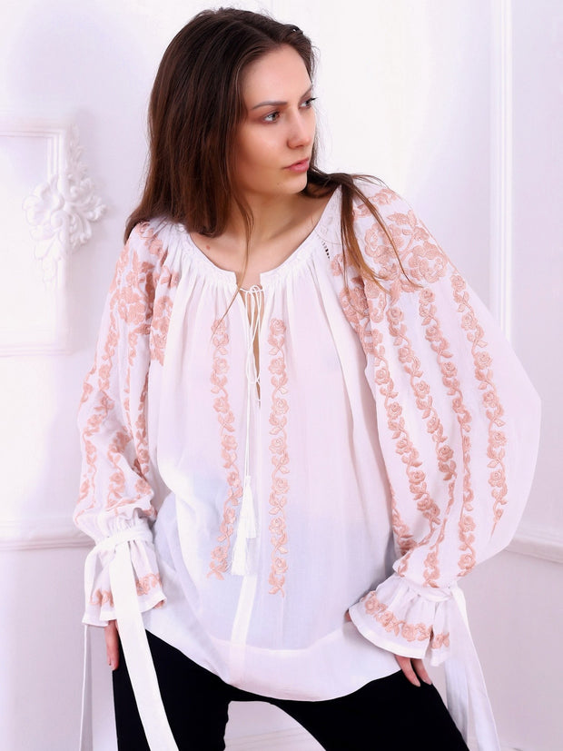 Roses Blouse - Ecru-Colored Fabric-FLORII-