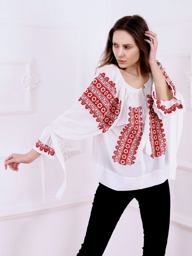 Flowers Crown Blouse - White-Colored Fabric-FLORII-
