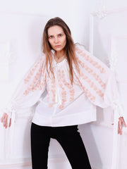 Sakura Blouse - White-Colored Fabric-FLORII-XS-Pastel Biege