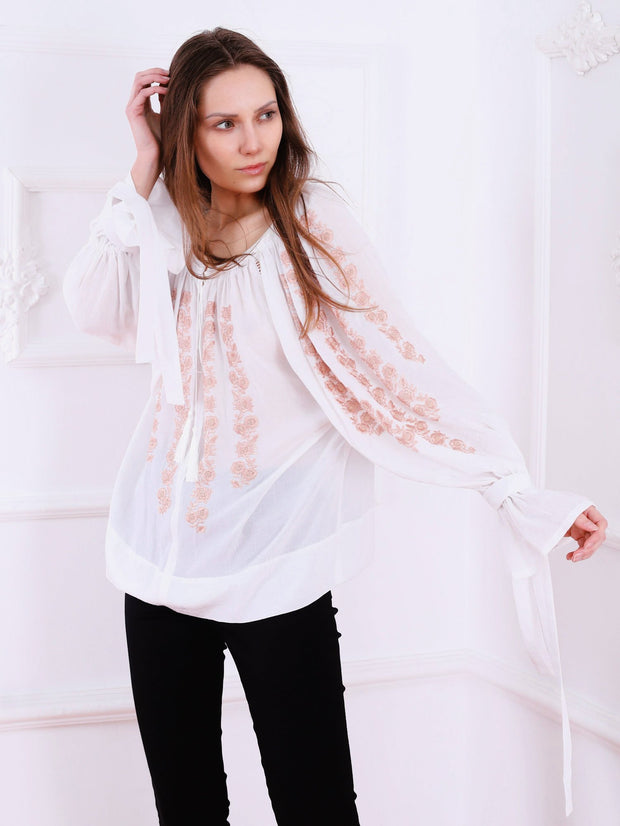 Sakura Blouse - White-Colored Fabric-FLORII-