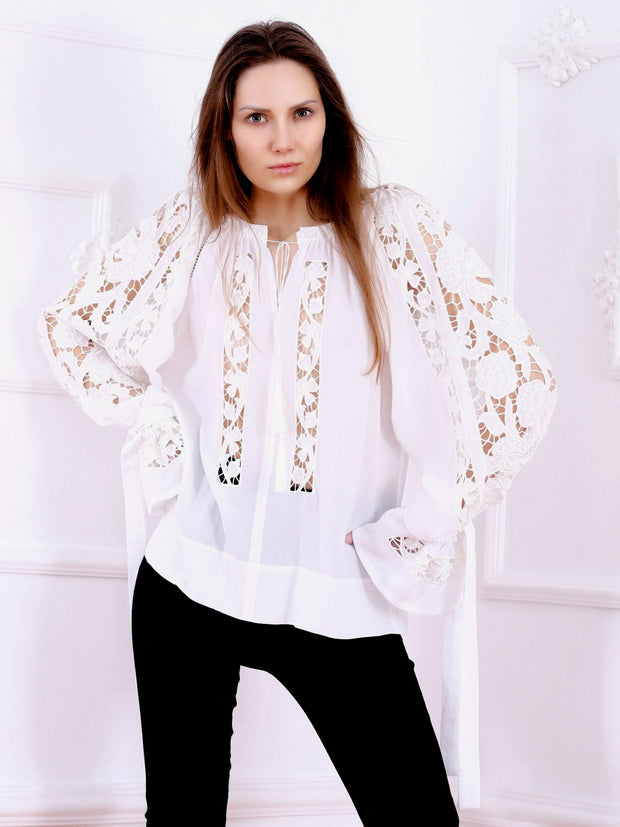 Ajouré Blouse - White-Colored Fabric-FLORII-
