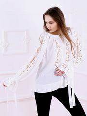 Ajouré Blouse - White-Colored Fabric