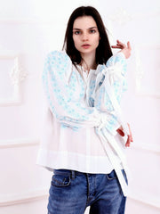 Cherry Blossom Blouse - White-Colored Fabric-FLORII-