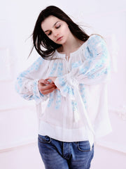 Cherry Blossom Blouse - White-Colored Fabric