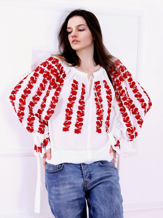 Cherry Blossom Blouse - White-Colored Fabric-FLORII-XS-Milano Red