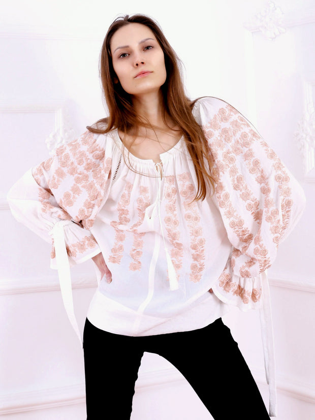 Cherry Blossom Blouse - Ecru-Colored Fabric-FLORII-XS-Pastel Biege
