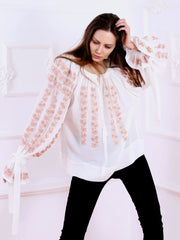 Cherry Blossom Blouse - Ecru-Colored Fabric-FLORII-