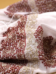Royal Blouse - White-Colored Fabric-FLORII-XL-Marsala Red/Golden Thread