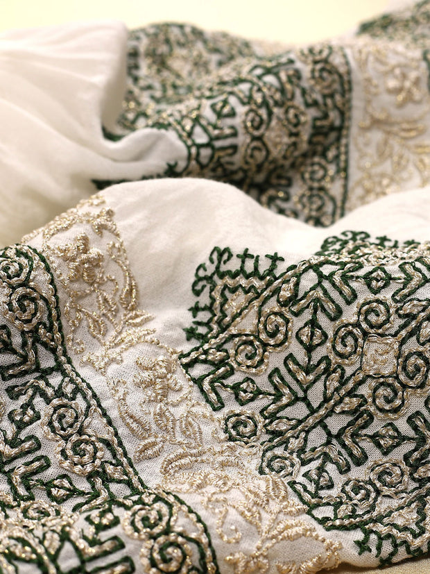 Royal Blouse - White-Colored Fabric-FLORII-XL-Emerald/Golden Thread