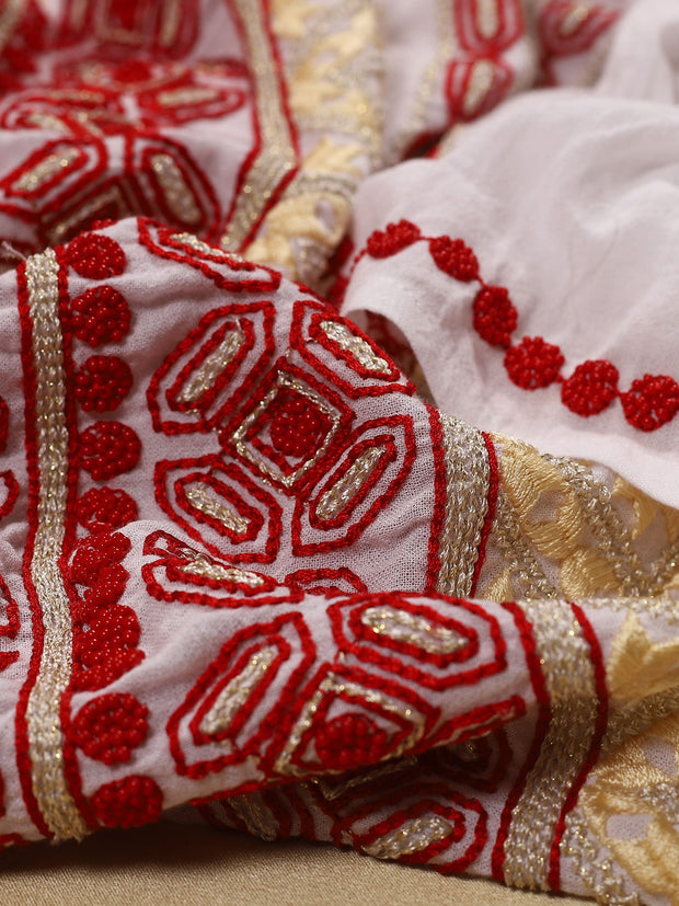 Bucovina Blouse - White-Colored Fabric-FLORII-XL-Milano Red/Golden Thread