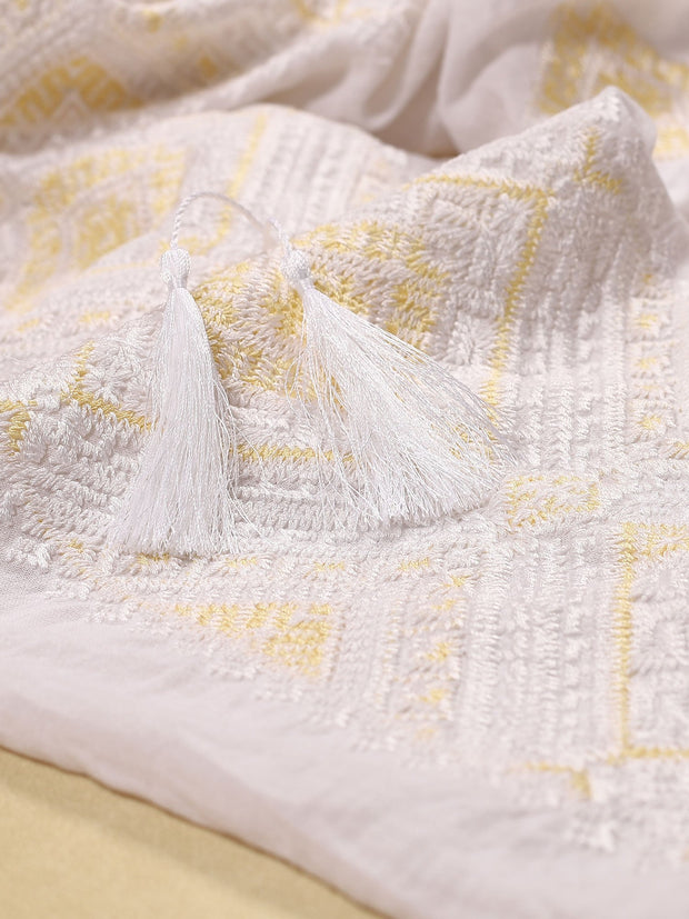 Banat Blouse - White-Colored Fabric-FLORII-XS-White/Buttery Yellow