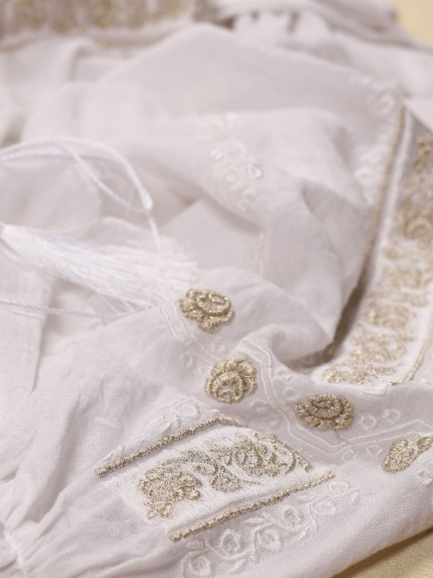 Sibiu Blouse - White-Colored Fabric-FLORII-XS-White-Golden-Thread
