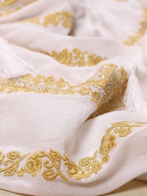 Sibiu Blouse - White-Colored Fabric-FLORII-XS-Mustard-Yellow-Golden-Thread