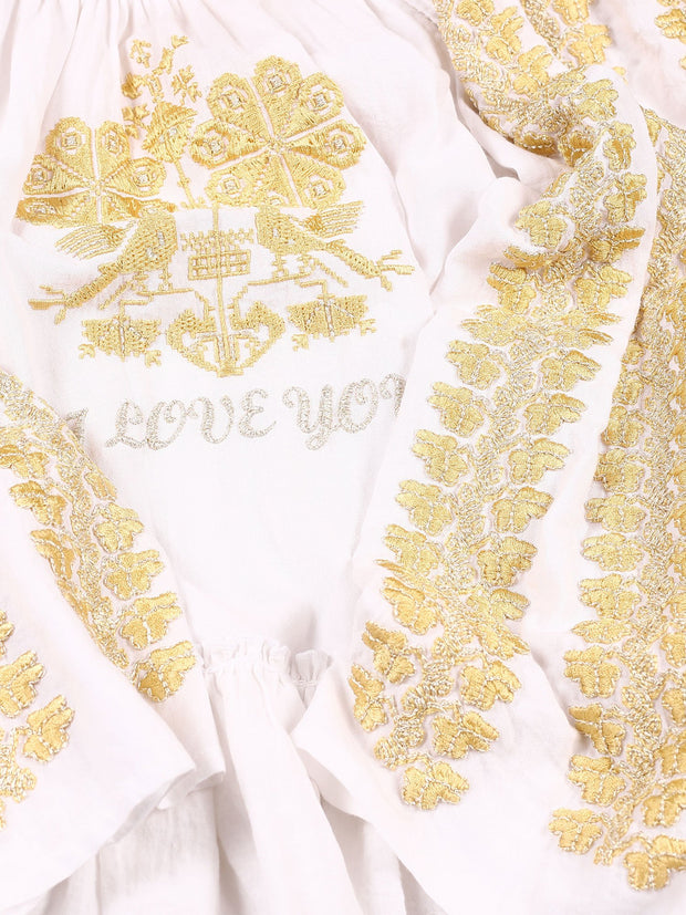 'I Love You' Blouse - White-Colored Fabric-FLORII-XS-Mustard Yellow/Golden Thread