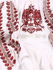 'I Love You' Blouse - White-Colored Fabric-FLORII-XL-Marsala Red/Golden Thread