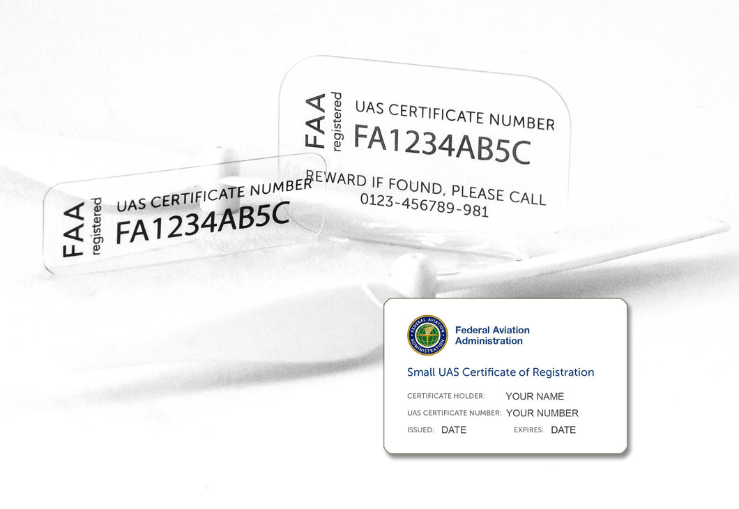 Drone Label for FAA UAS Registration Number, Ultra-Thin Glass, Including FAA ID Card