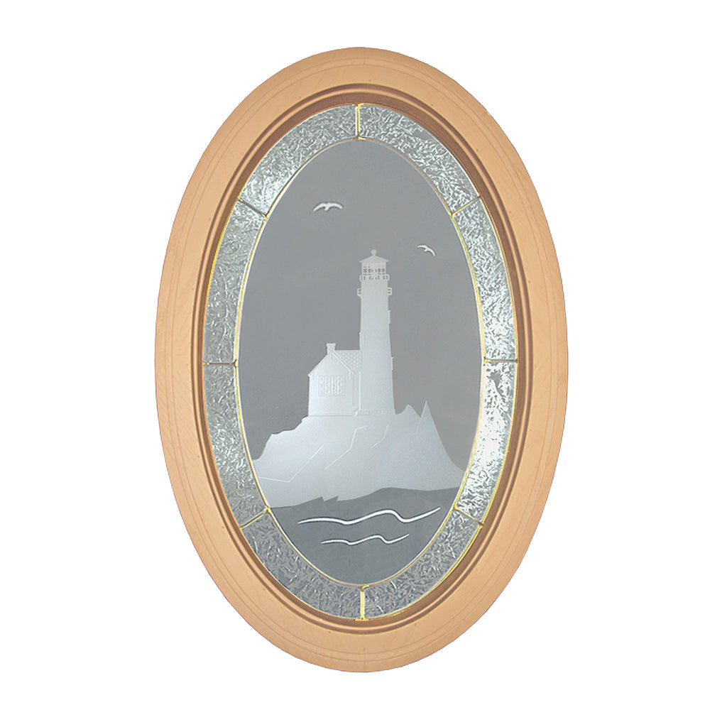 Etched Lighthouse Oval Window with Brass Caming