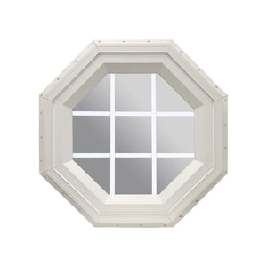 Clear Stationary Octagon Window with White Internal Grille Beige