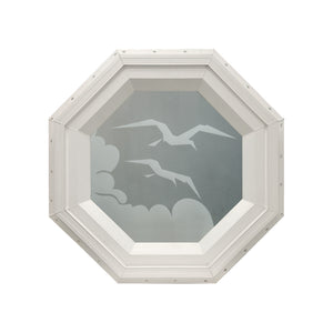 Frosted Bird Stationary Octagon Window Beige