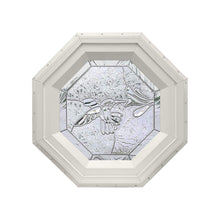 Bevelpane Octagon Window with Hummingbird Deco Beige