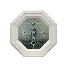 Etched Flower Stationary Octagon Window with Zinc Caming Beige