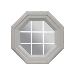 Clear Stationary Octagon Window with White Internal Grille Clay