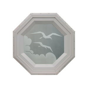 Frosted Bird Stationary Octagon Window Clay