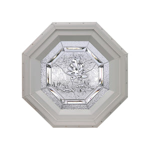 Bevelpane Octagon Window with Rose Deco Clay