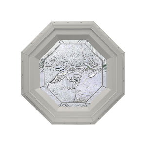 Bevelpane Octagon Window with Hummingbird Deco Clay