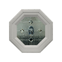 Etched Flower Stationary Octagon Window with Zinc Caming Clay