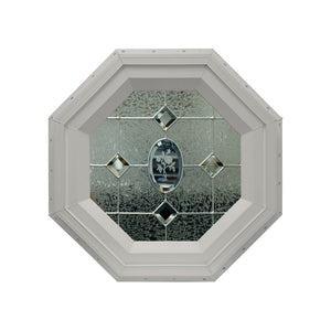 Flower Stationary Octagon Window with Zinc Caming Clay