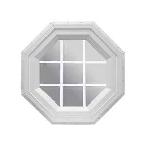 Clear Stationary Octagon Window with White Internal Grille