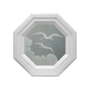 Frosted Bird Stationary Octagon Window