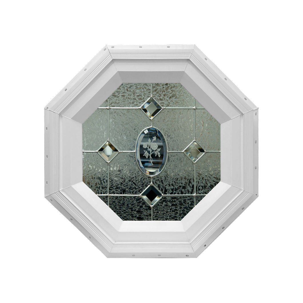 Etched Flower Stationary Octagon Window with Zinc Caming