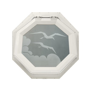 Frosted Bird Venting Octagon Window Beige