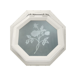 Frosted Rose Venting Octagon Window Beige