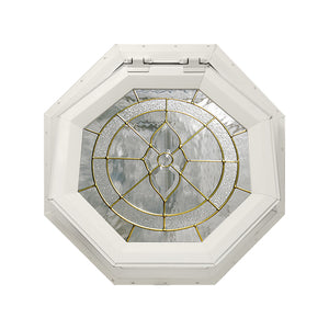 Cape May Venting Octagon Window with Brass Caming Beige