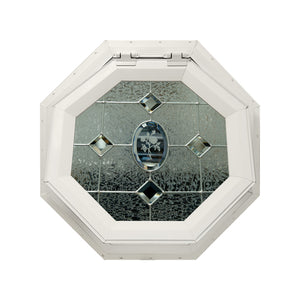 Etched Flower Venting Octagon Window with Zinc Caming Beige