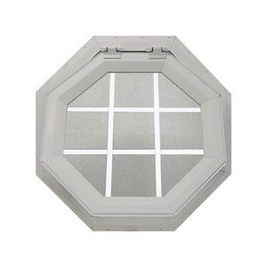 Clear Venting Octagon Window with White Internal Grille Clay