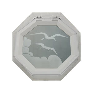 Frosted Bird Venting Octagon Window Clay