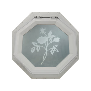 Frosted Rose Venting Octagon Window Clay