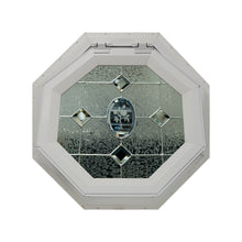 Etched Flower Venting Octagon Window with Zinc Caming Clay