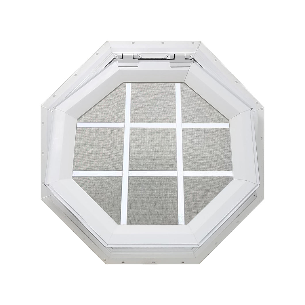 Clear Venting Octagon Window with White Internal Grille