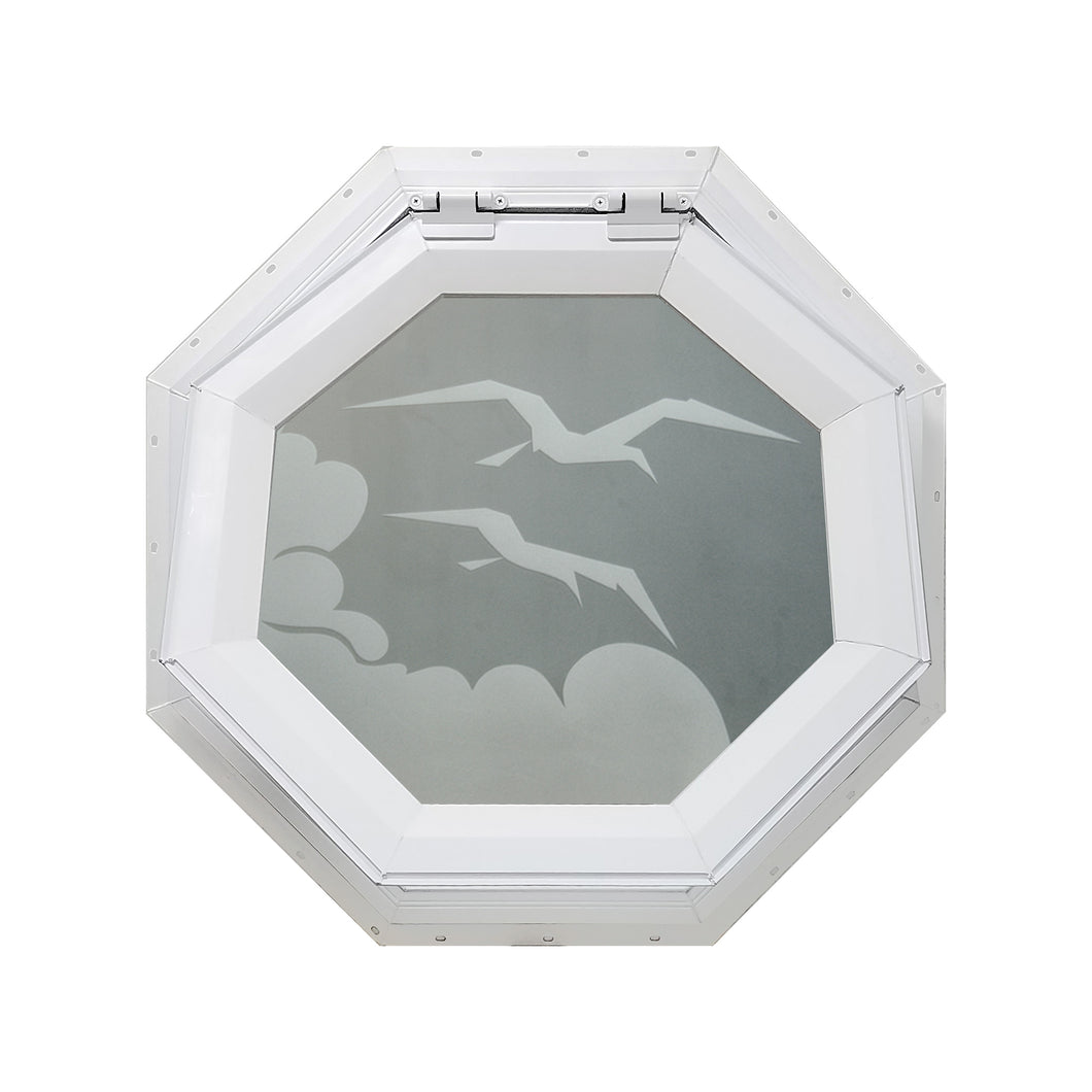 Frosted Bird Venting Octagon Window