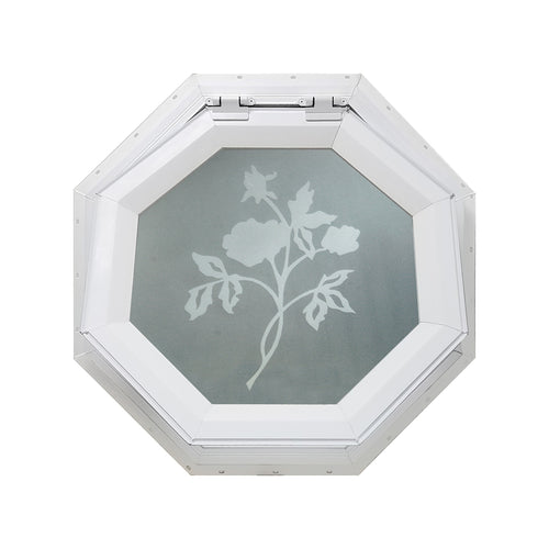 Frosted Rose Venting Octagon Window