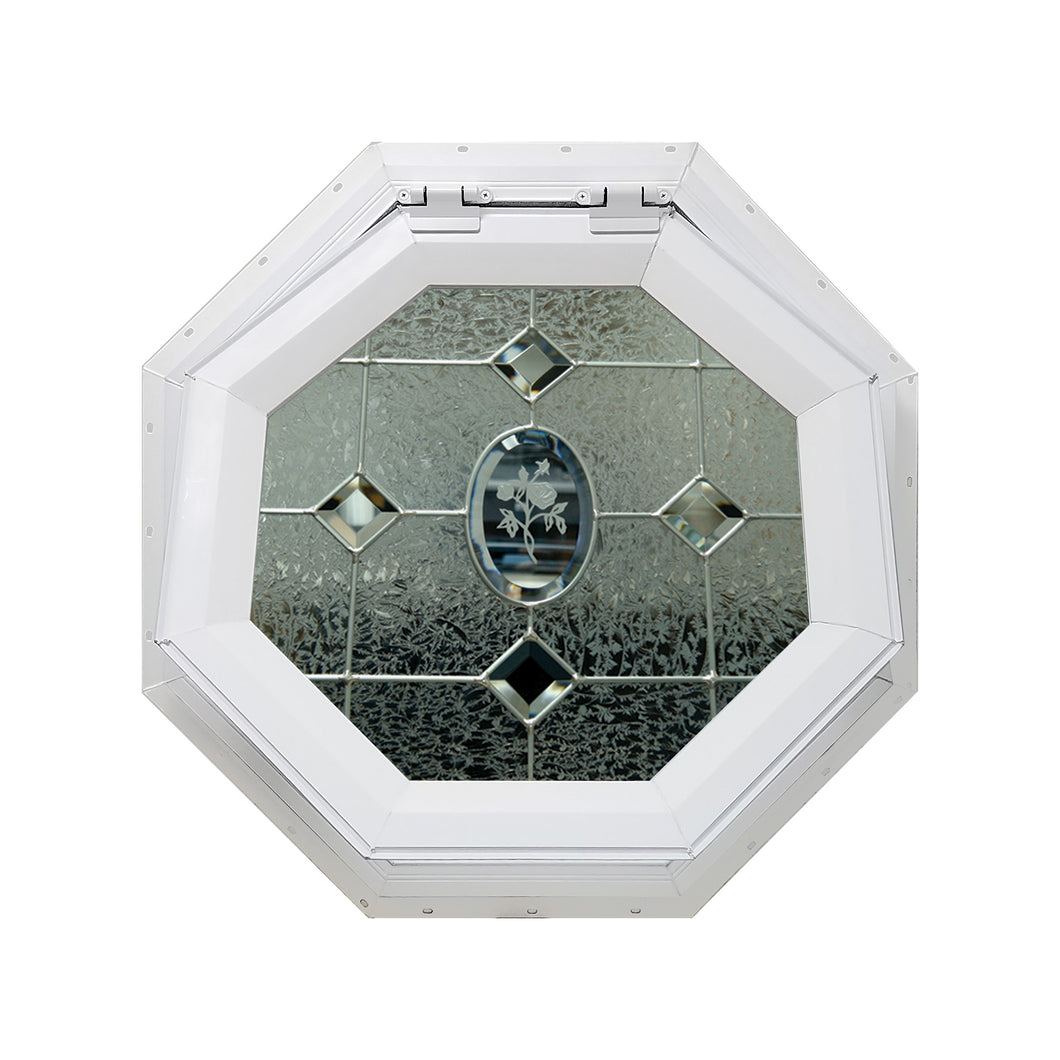 Etched Flower Venting Octagon Window with Zinc Caming