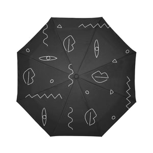 Black abstract drawing compact umbrella by Geni