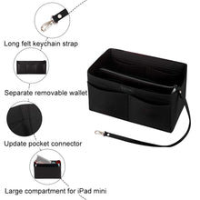 Load image into Gallery viewer, Handbag organiser insert in black
